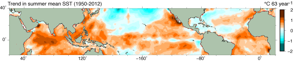 Global summer mean Sea Surface Temperature Trends
