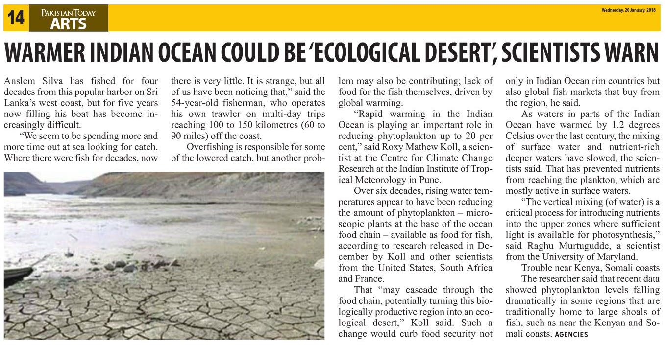 newspaper highlights climate research lab cccr iitm