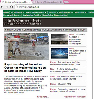 CSE India Environmental Portal highlight on Indian Ocean warming and a weakening monsoon