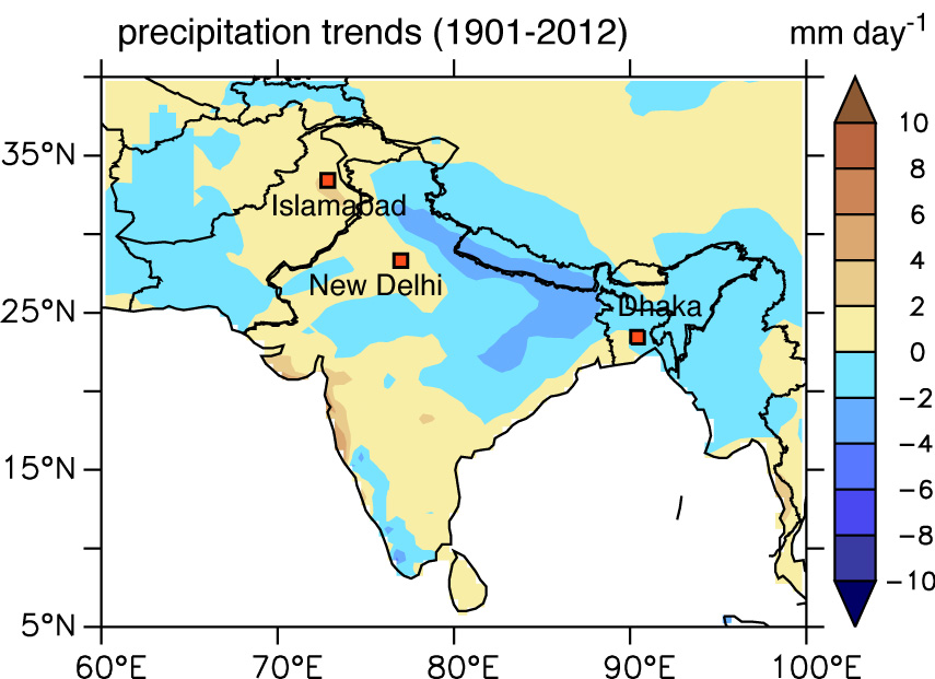 weakening monsoon rainfall trends
