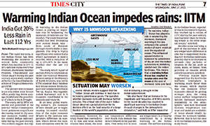 Times of India article on Warming Indian Ocean impedes rains: Indian Institute of Tropical Meteorology