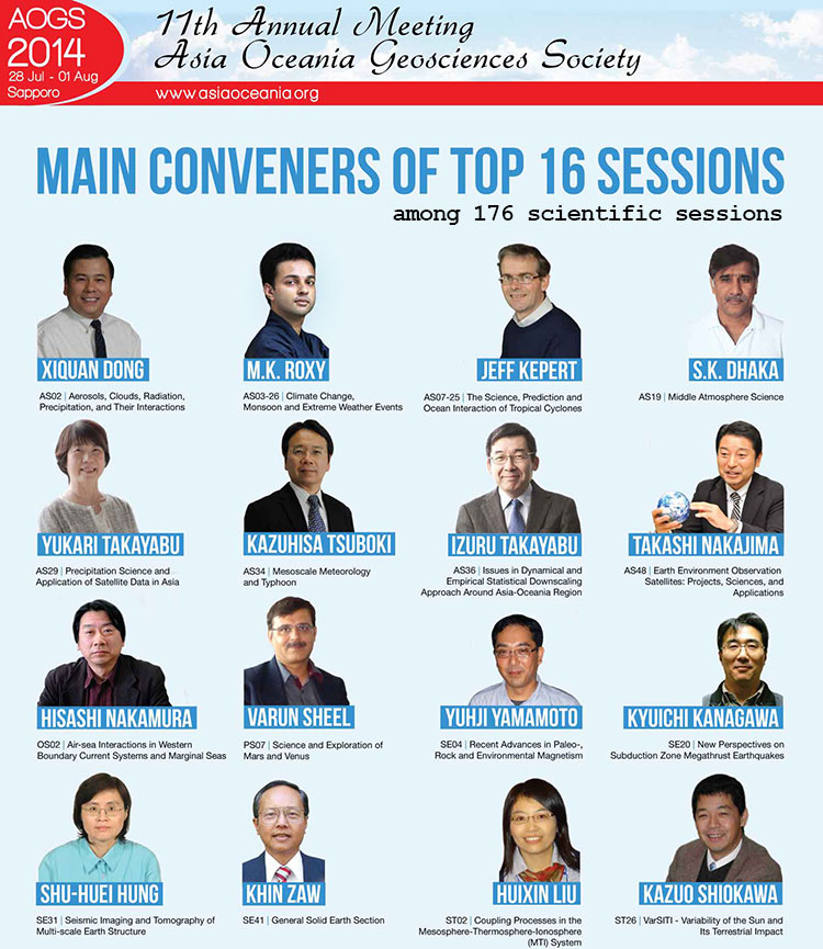 AOGS 2014 Top 16 Session Conveners