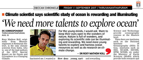 Roxy Mathew Koll IPCC interview in Deccan Chronicle on ocean sciences and drought